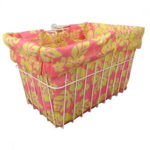 Cruiser Candy Reversible Bike Basket Liner Hibiscus Pink/Yellow Standard