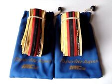 *Rare NOS Vintage IRC Paperlite Aqua 700 x 20C black/amber wall clincher tyres*