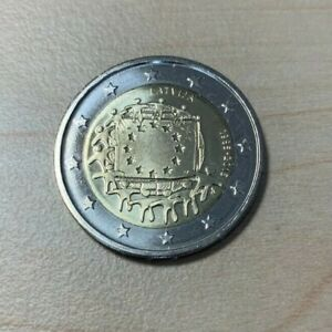 """LATVIA 2015 2 EUR COIN """"30 Years of EU Flag"""" UNC from mint roll KM# 172"""