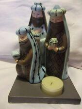 """PARTYLITE  Ceramic Modern Shepherd 3 Wise Men Tealight Holder 4 1/2"""" x 5"""" Stand"""