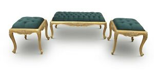 French Style, Gold Leaf ,Turquoise green Tufted Velvet, Ottoman (Set of 3)