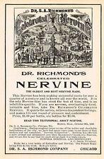 1905 Original Vintage Dr Richmond's Celebrated Nervine Drug Medicine Print Ad