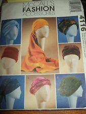 mccalls sewing pattern turban headwrap hats uncut 4116 2003 accessories craft