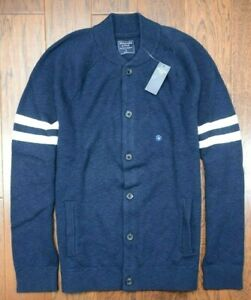 Abercrombie & Fitch Men's Navy Blue Cotton Button Cardigan Sweat Sweater M