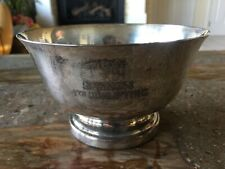 Vintage Dog Show Trophy Academy Candy Dish Serving Bowl Silver on Copper 640