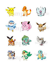 """12 Assorted  POKEMON CUPCAKE Toppers Edible ICING Image 2.1"""" Circles"""