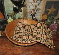 Prim Antique Vtg Style Patriots Knot Blk Tan Cotton Woven COVERLET RUNNER AQ71SR