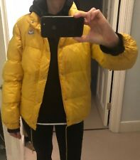 Vintage Designer Yellow Puffa Moncler jacket in size 2 with removable sleeves