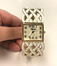 Vintage Xanadu Women's Goldtone & White Enamel Quartz Trellis Cuff Watch UNIQUE!