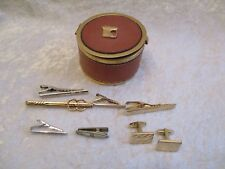 Vintage Cufflinks, Tie Clips/Bars in Small Brass/Leather Jewelry Case