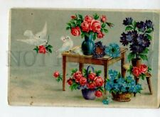 3148939 Valentine's Day Pigeons Flowers in Baskets Vintage Pc