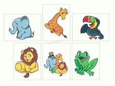 12 Jungle Zoo Animals Temporary Tattoos Kid Party Goody Loot Bag Favor Supply