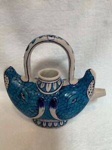 "Antique Middle Eastern salt glazed pottery double fish form pitcher 9"" tall RARE"