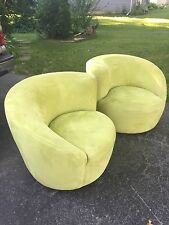 2 Vladimir Kagan Nautilus Swivel Lounge Chairs Modern Avocado Green Pair