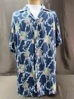 KOKO KNOT Men's Hawaiian Shirt Size XXL blue floral birds floral short sleeve