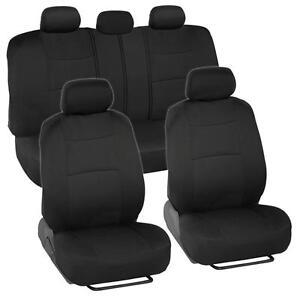Car Seat Covers for Honda Civic Sedan Coupe 2 Tone Color Black w/ Split Bench