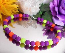 Leuchtende Neon Halskette runde Perlen 10 mm Gelb Orange Lila