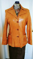 VINTAGE Made in Mexico Womens Tan Leather Jacket Coat SZ M