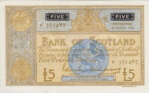 P106b BANK OF SCOTLAND 1966 £5 NOTE IN MINT CONDITION.