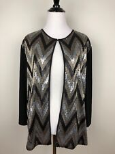 Chicos Travelers Sz 3 Womens XL Black Gold Metallic Jacket Sweater Open Cardigan