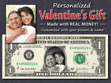 Custom VALENTINES GIFT Your Faces on REAL $1 Bill Money Personalized Cash Dollar