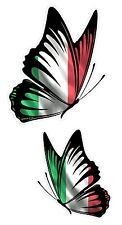 PAIR Of Butterflies Design With Italy Italian il Tricolore Flag car sticker