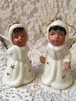 Set of 2 Porcelain Angel Bells Vintage Holiday Christmas Tree Decorations Stars