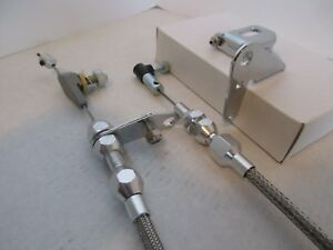 STAINLESS STEEL THROTTLE, 727 KICK DOWN CABLE AND BRACKET KIT #6054/6055/#6056