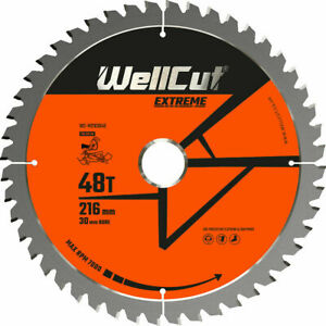 WellCut TCT Saw Blade 216mm x 48T x 30mm Bore For LS0815, DWS777, DWS774, C8FSR