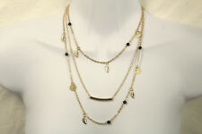Gold Multi 3 Strand layer Boho Small Chain Black Bead Coin Leaf Charm Necklace