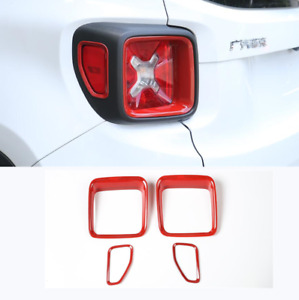Fit For Jeep Renegade 2016-2019 2020 RED ABS Rear Lamp Cover Trim 4PCS