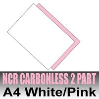 500 sets x A4 Carbonless NCR Duplicate Printing Paper 2 part White & Pink