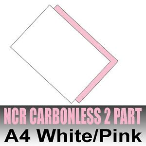 1250 sets x (5 x 250) A4 Carbonless NCR Duplicating Paper Two Part White & Pink