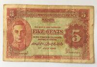 1941 Malaya - Five 5 Cents Banknote Bank Note