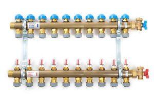 Polypipe Underfloor Heating 10 Port Pushfit Brass Manifold -15mm PB12745
