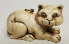 "Carved Netsuke Cat Pendant signed Resin? 1.5"" x 1"" x 1"""