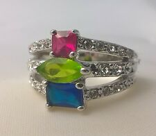 G-Filled Ladies 18k white gold multi coloured ring ruby peridot blue sapphire cz
