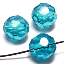 Lot de 10 perles à FACETTES 14mm en Cristal de Bohème Aquamarine
