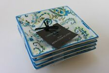 CYNTHIA ROWLEY PAILSEY APPETIZER PLATES - BLUE/GREEN S/4