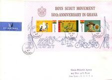 GHANA 1967 50th Ann BOY SCOUTS Baden Powell BICYCLES Flag Raising SS FDC