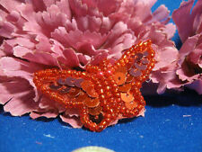 RED BUTTERFLY SEQUIN BEADED APPLIQUE 0670-S3