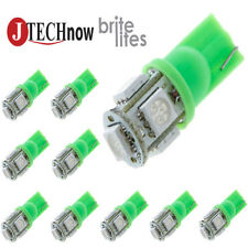 Jtech 10x T10 5 SMD LED Green Super Bright Car Lights Bulb W5W, 194, 168, 2825
