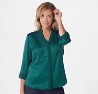 Elizabeth & Clarke Woven Roll-Tab Sleeve Top with StainTech - Emerald - Plus 28