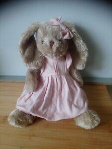 Peluche doudou lapin beige robe rose pois blancs Famiflora excellente état