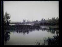 Francia Paesaggio Stagno 1900 Foto Negativo Placca Da Lente Vintage VR18L9n10