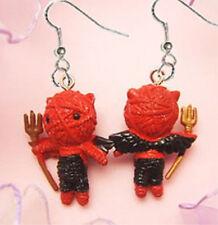 Funky Mini Figure VOODOO DOLL RED DEVIL DEMON EARRINGS Novelty Valentine Jewelry