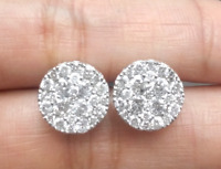 DEAL! 2.00CT NATURAL ROUND DIAMOND CLUSTER HALO STUD EARRINGS IN 14K GOLD 11MM.