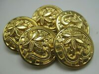 """Lot of 5 Vintage Brass Buttons Intricate Floral Pattern 7/8"""" Diameter T5"""