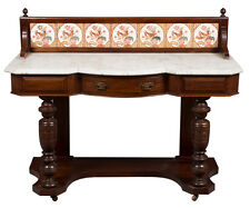 Victorian Period Antique Mahogany Marble Top Tiled Back Washstand English