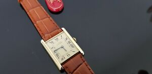 Must de Cartier Tank Vintage Mechanical 18ct Gold on Silver Mid Size Watch.